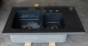 Custom Double Basin Kitchen Sink Black Granite  Stone Forest - Black granite kitchen sinks