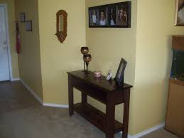White Entry Table by Brown Lacquered Oak Entryway Table Mixed Yellow Wall Color As Well