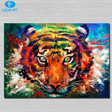 trippy tiger painting wall picture abstract art wall painting for
