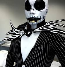 Halloween Jack Skeleton by Jack Skellington Natural Face Paint Design Colors Black White