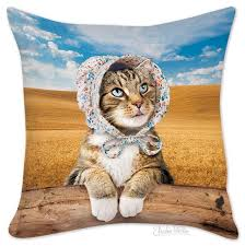Cusion Cover Cat In Bonnet Pillow Cover U2013 Archie Mcphee