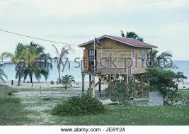 Beach House On Stilts Wooden House On Stilts On Beach Front Galveston Texas Usa Stock