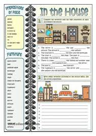 in the house prepositions of place esl worksheets of the day