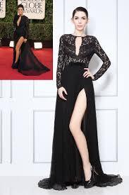 black lace and chiffon long sleeve celebrity eva longoria prom