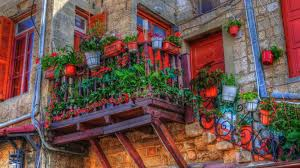 houses wonderful balcony flowers pots house stairs free desktop