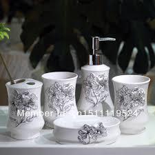 french stereoscopic carved diamond ceramic bathroom set of five
