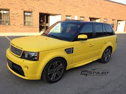 matte white range rover matte yellow range rover sport vehicle customization shop