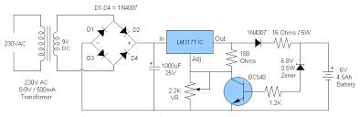 6v 4 5ah battery charger circuit circuit diagram