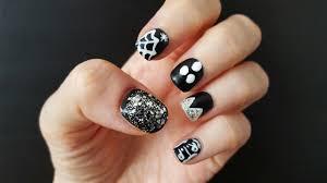 black and white easy halloween nail art youtube
