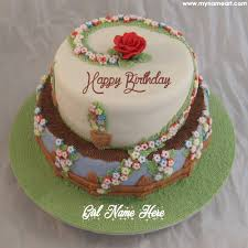 floral decorated birthday cake image editing with name write