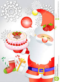 cute santa clause holding delicious cake on snowflake background