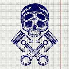 sketch of biker skull with pistons royalty free vector clip