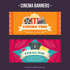 banners of movie accessories vector free download