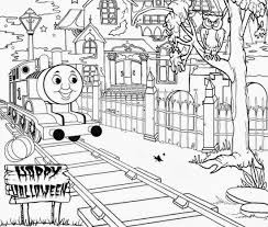 halloween thomas train coloring pages id 19457