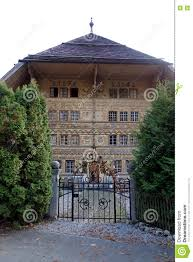 entrance to grand chalet house of balthus editorial photography