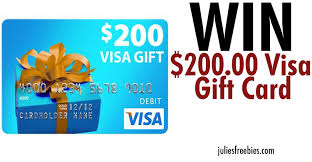 how to win gift cards win a 200 visa gift card julie s freebies