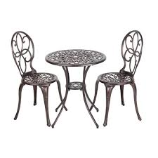 Cast Iron Patio Table And Chairs by Cast Aluminum Bistro Sets Patio Dining Furniture The Home Depot