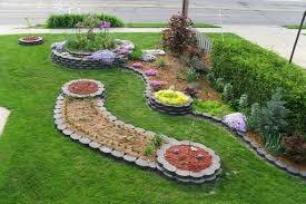 flowers and plants frontyard landscaping ideas with gray stone planter boxbined