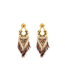 gas earrings lyst gas bijoux apache wood rocaille earrings in metallic