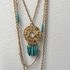 turquoise colored necklace images Vintage tri strand tribal gold tone necklace with turquoise png