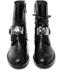 buckle biker boots casadei black mariacarla leather biker boots in black lyst