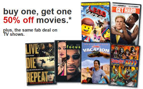 target com buy one get one 50 off movies u0026 tv shows free