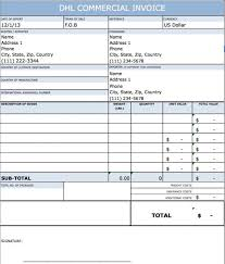 free dhl commercial invoice template excel pdf word doc