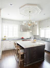 What Size Ceiling Medallion For Chandelier Hampton Carrera Marble Hex Tiles Transitional Kitchen