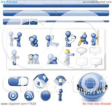 blue man web design kit with tabs icons and web buttons clipart