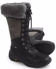 s ugg australia black elsa boots ugg australia leather lace up knee high boots s shoes ebay