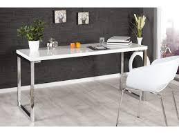 pieds de bureau design bureau design blanc laqué et pieds en acier chromé luc 160 cm