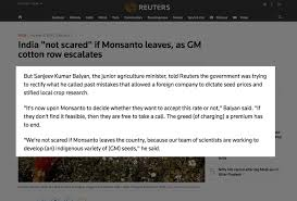 global markets futures slide spooked monsanto meets its match as hindu nationalists assert power in india