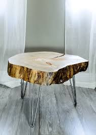 reclaimed canary island pine tree slice table end table side