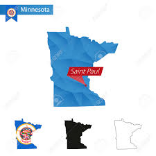 State Map Of Minnesota by State Of Minnesota Blue Low Poly Map With Capital Saint Paul