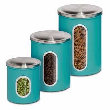 metal kitchen canister set storage dry goods pasta coffee beans