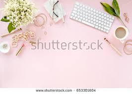 stylized womens desk office desk workspace stock photo 640687195