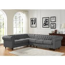 Tufted Rolled Arm Sofa Sophia Modern Style Tufted Rolled Arm Left Facing Chaise Sectional