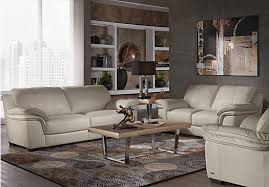 Find Living Room Furniture Cindy Crawford Home Grand Palazzo Beige Leather 3 Pc Living Room
