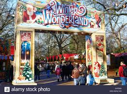 entrance to winter hyde park uk stock photo