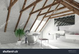 Ceiling Window by Concept Attic Bathroom White Walls Roof Stock Illustration