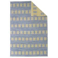 double sided star rug blue and yellow handmade wool rug