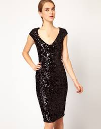 french connection sequin midi dress in black lyst
