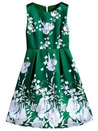 floral fit and flare midi dress light green print dresses s zaful
