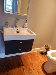 Wood Floor In Powder Room - powder room with espresso floating vanity kitchen design center
