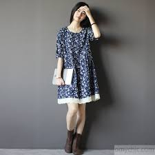 summer dress vintage blue floral summer dress fitting knee dresses fit