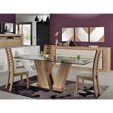 Glass Top Rectangular Dining Table Rectangular Clear Glass Table Top With Natural Ash Wooden Based