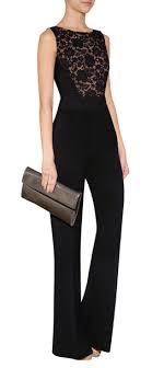 lace top jumpsuit lyst elie saab lace top jumpsuit in black