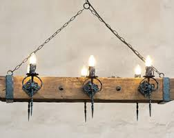 Iron And Wood Chandelier Wood Chandelier Etsy