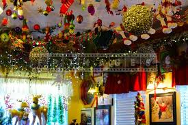 Ceiling Decoration For Christmas by Delicious Food And Colorful Christmas Decorations At Evergreen