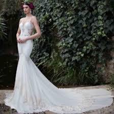wedding dress sheer straps spaghetti lace sheer back trumpet mermaid wedding